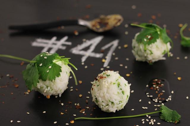 Cilantro Rice Balls with Sesame Seeds and Asian Dip