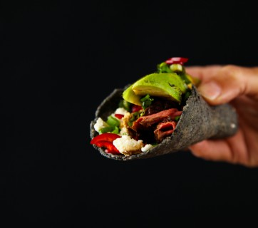 Charred Avocado Taco with Beef & Feta Cheese