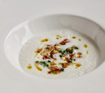 Creamy Sunchoke Soup with Parsnips and Salami