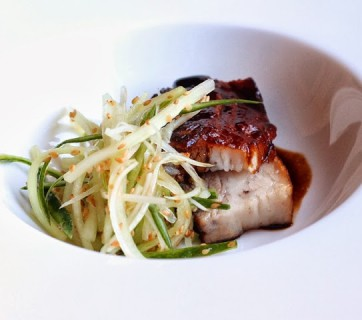 Braised Pork Belly With Cucumber and Fennel Coleslaw