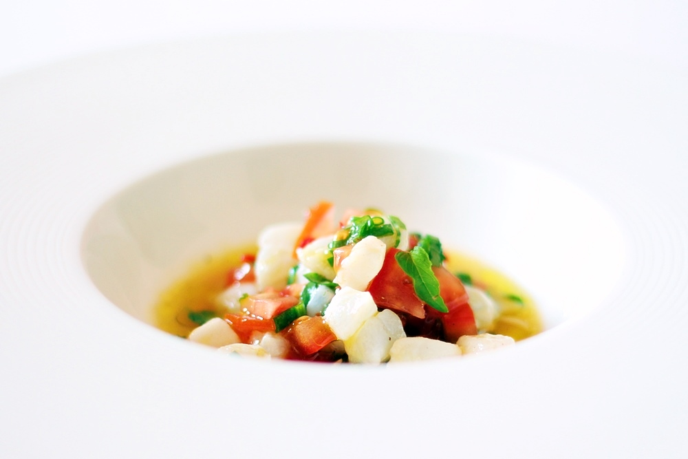 Tomato Ceviché with Cod and Holy Basil