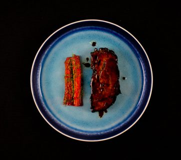 Pork Ribs with Poached Rhubarb and Fennel