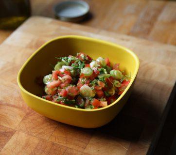 Quick Tomato Cilantro Salsa with Scallions and Jalapeno