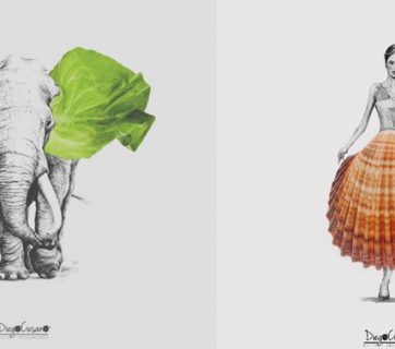Food Illustrations Completed with Real Food by Diego Cusano