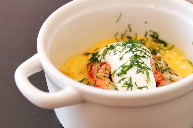 Scrambled Eggs with Crayfish, Dill and Sour Cream