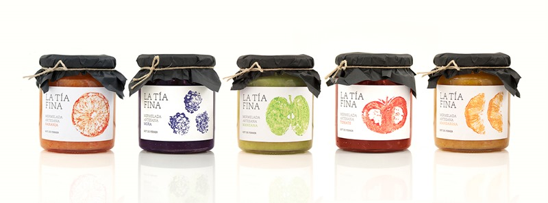 Fruit Labels Made with Real Fruit for La Tia Fina Jam