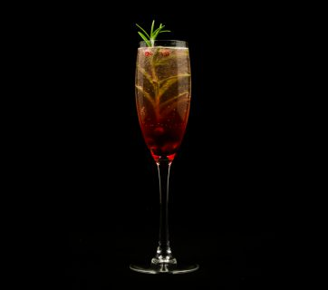 Pomegranate Champagne Cocktail with Rosemary