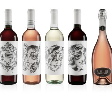 Vintage Style Wine Bottles With Beautiful Portraits of Women