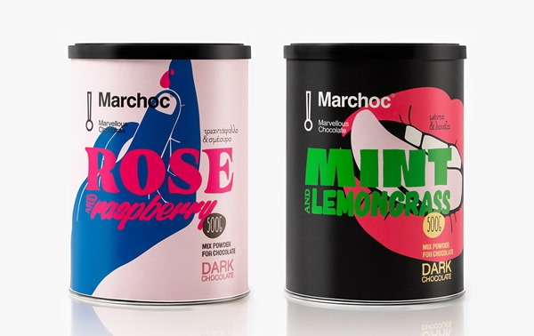 Chocolate Powder Packagings With Great Colors for Marchoc Chocolate