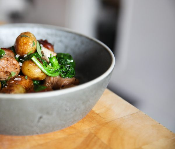 Potatoes with Salsiccia, Oregano and Spinach