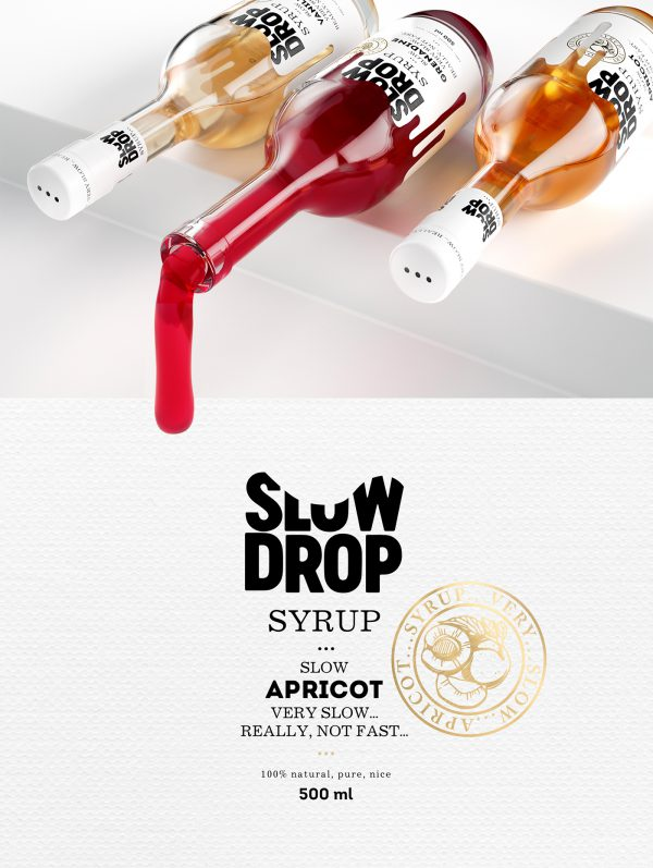 Cocktail Syrup Packaging Design With Drops in The Design