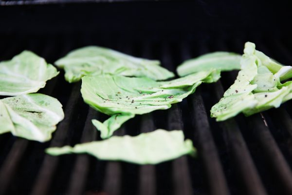 Grilled Cabbage with Creme Fraiche, Lemon and Herb Oil