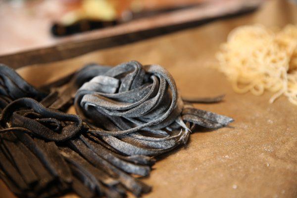 Calamari Pasta Sauce with Homemade Black Tagliatelle