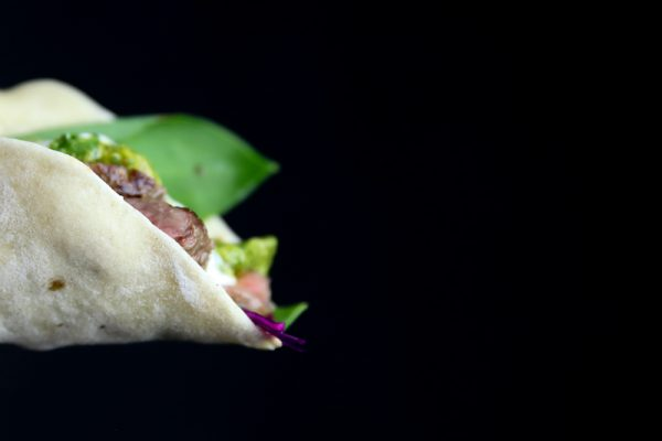Chimichurri Taco with Beef, Red Cabbage Coleslaw and White BBQ Sauce