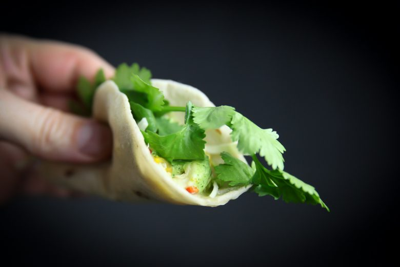 Ceviche Taco with Cilantro Sauce and Lime