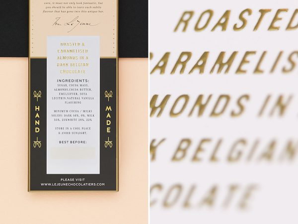 Golden Chocolate Packaging for Le Jeune Artisan Chocolatiers