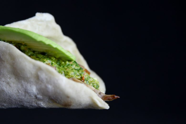 Grilled Pork Taco with Yogurt Coleslaw, Chimichurri and Avocado