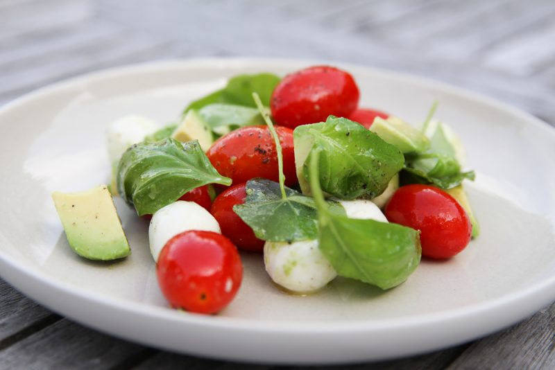 Avocado Caprese Side Salad With Fresh Basil and Nasturtium