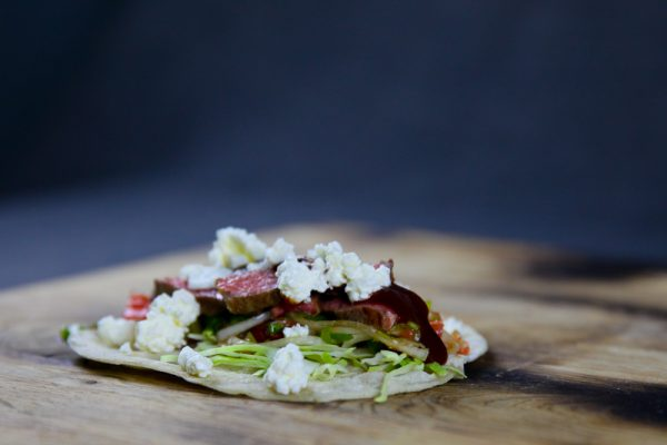 Taco with Beef, Grapefruit Scallion Salsa & Feta Cheese