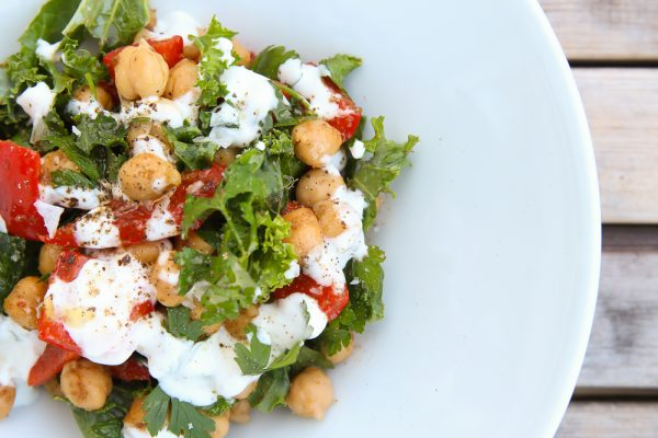 Warm Chickpea Red Pepper Side Salad with Yogurt and Kale