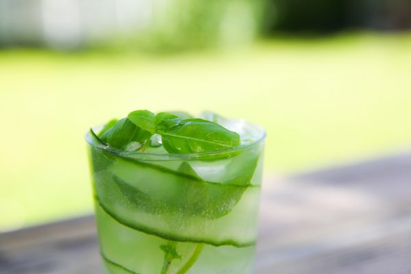 Cucumber Basil Gin and Tonic With Lime