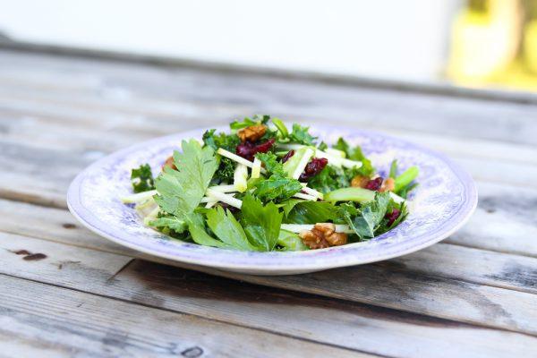 Kale Apple Side Salad with Walnuts, Celery and Dried Cranberries