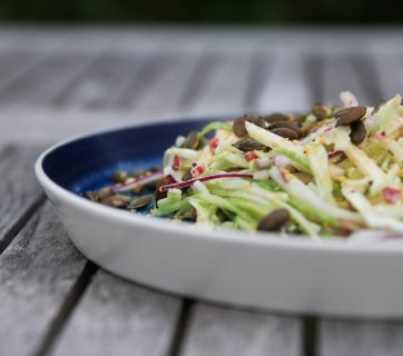 Apple Cabbage Coleslaw Side Salad With Pumpkin Seeds