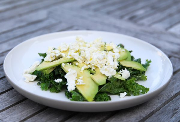 Kale Avocado and Feta Cheese Side Salad