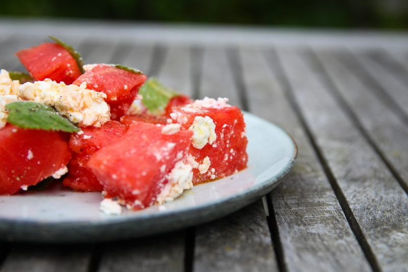 Watermelon Side Salad with Feta Cheese and Mint
