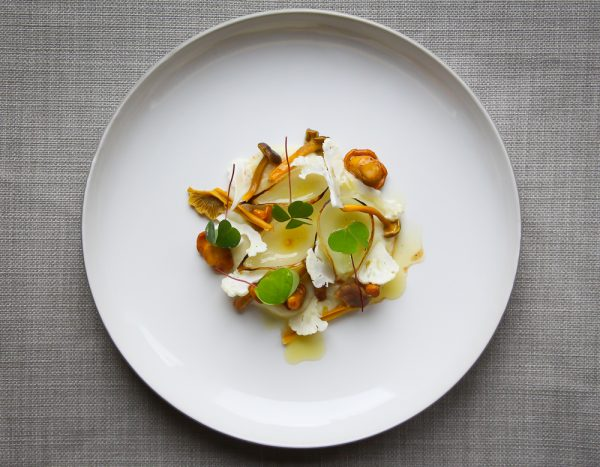 Chanterelles With Cauliflower, Onions and Pickled Funnel Chanterelles