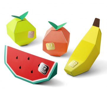 Tea in Fruit Origami Packaging Design