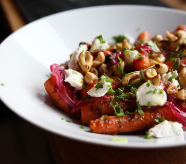 Grilled Carrots with Cashews, Pickled Onions and Yogurt