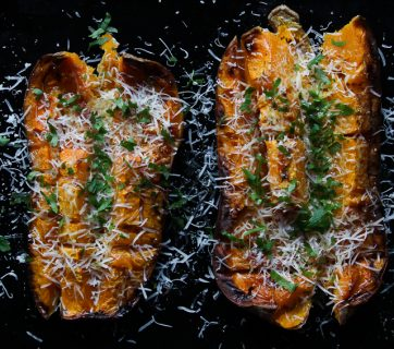 Roasted Butternut Squash with Pecorino Cheese and Parsley