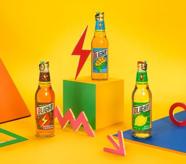 Dlight Beer Cocktail Packaging Inspired by the 1980's