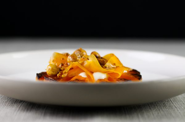 Roasted Butternut Squash Appetizer with Yogurt, Bee Pollen, Hazelnuts and Butter