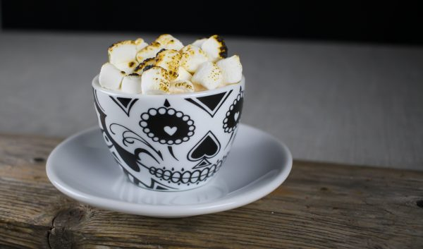 Peanut Butter Hot Chocolate with Bourbon and Marshmallows