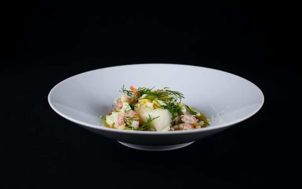 Cod with Brown Butter, Eggs, Shrimps, Dill and Horseradish