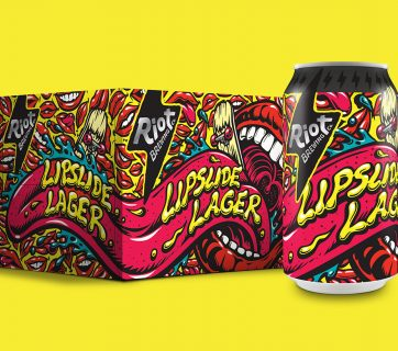 Riot Brewing Beer Packaging with Cartoon Inspiration
