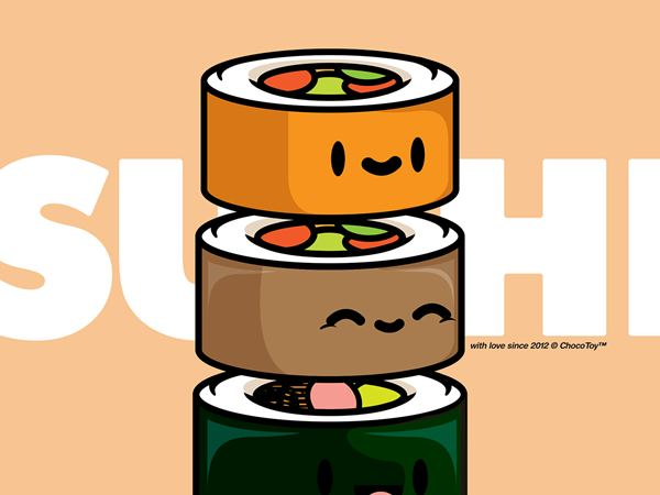 Adorable Sushi Illustrations for Taka Sushi by Choco Toy