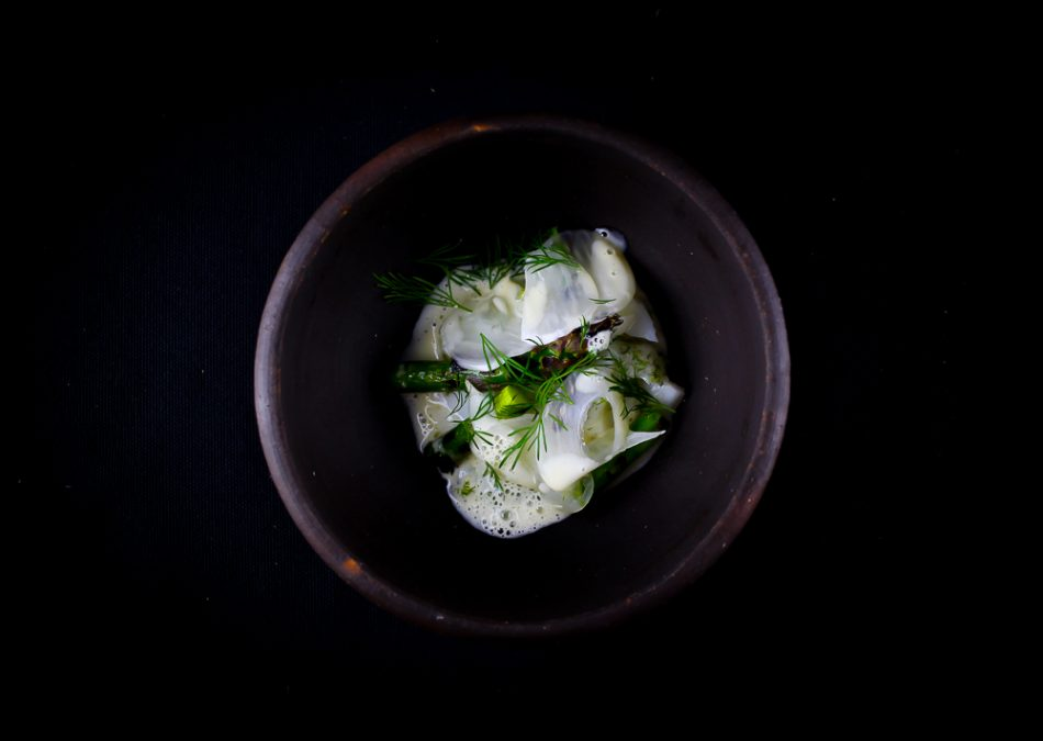 Cod Loin with Pickled Fennel, Grilled Asparagus and Dill