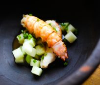 Langoustine with Granny Smith Apples, Ginger and Langoustine Vinaigrette